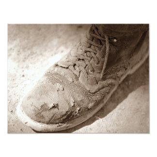 Retro Sepia Worn Work Boot Retirement Invitations