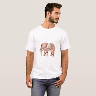 Retro Seventies Wavy Lines Elephant Silhoulette T-Shirt