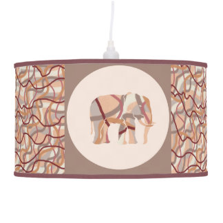 Retro Seventies Wavy Lines Elephants Hanging Pendant Lamp