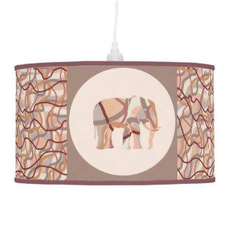 Retro Seventies Wavy Lines Elephants Pendant Lamp