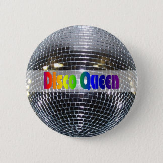 Retro Shiny Silver Mirror Disco Ball Disco Queen 2 Inch Round Button