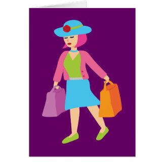 Retro Shopping Girl Card