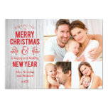 """Retro Sign in Rustic Wood Merry Christmas Card 5"""" X 7"""" Invitation Card"""