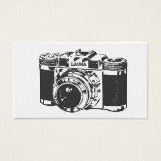 Retro Silver Camera Photographer Business Cards