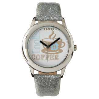 Retro Silver Glitter Watch with Time for Coffee