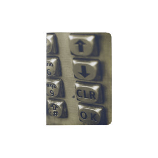 Retro Silver Telephone Buttons Passport Holder
