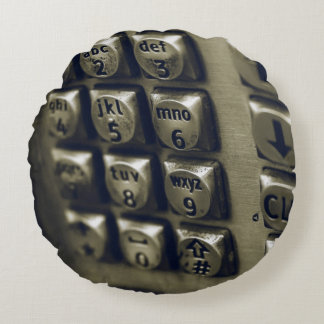 Retro Silver Telephone Buttons Round Pillow
