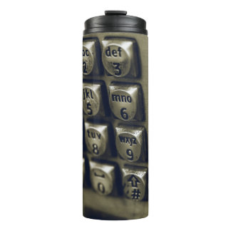 Retro Silver Telephone Buttons Thermal Tumbler