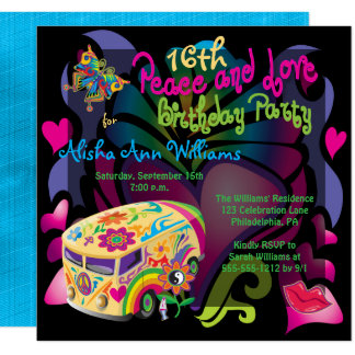 """Retro Sixties Peace and Love 16th Birthday Party 5.25"""" Square Invitation Card"""