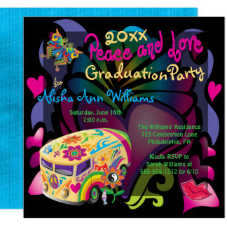 Retro Sixties Peace and Love Graduation Party Card