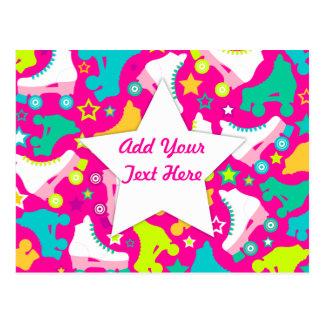 Retro Skates Hot Pink Custom Postcard