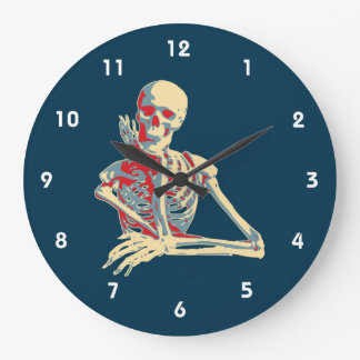 Retro Skeleton Resting His Chin on his Hand Large Clock