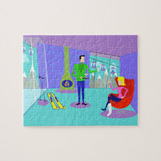 Retro Ski Vacation Jigsaw Puzzle