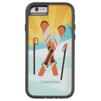 Retro Skiing Design with Snowy Landscape Tough Xtreme iPhone 6 Case