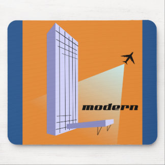 Retro Skyscraper and Airplane Mouse Pad