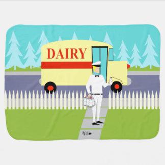 Retro Small Town Milkman Baby Blanket
