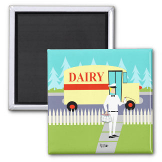Retro Small Town Milkman Magnet 2 Inch Square Magnet
