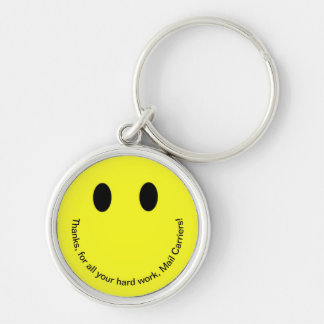 Retro Smiley Face THANK YOU Text Bright Yellow Keychain