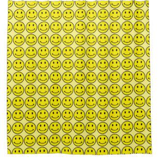 Retro Smiley Face Yellow Smile Bath Shower Curtain