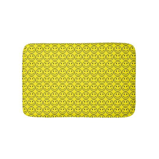 Retro Smiley Face Yellow Smile Small Bath Mat