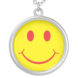 Retro Smiley Silver Plated Necklace