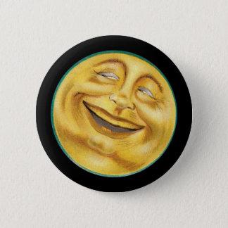 Retro Smiling Harvest Moon 2 Inch Round Button