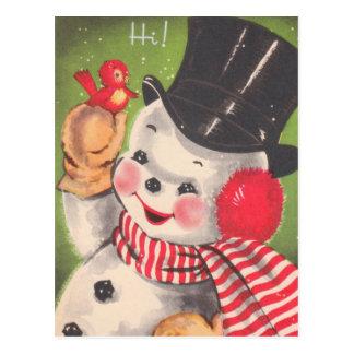 Retro Snowman Christmas Postcard