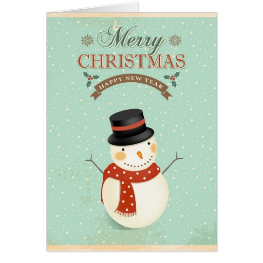 Retro Snowmen Happy New Year Merry Christmas Card
