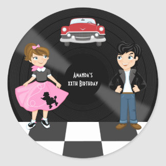 Retro Sock Hop Birthday Party Classic Round Sticker