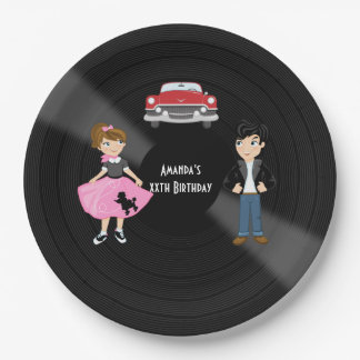Retro Sock Hop Birthday Party Paper Plate