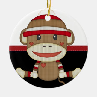 Retro Sock Monkey Round Ceramic Ornament