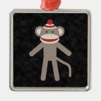 Retro Sock Monkey Silver-Colored Square Ornament