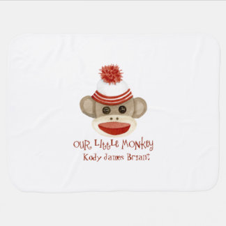 Retro Sock Monkey w Stocking Cap Baby Boy Gifts Baby Blanket