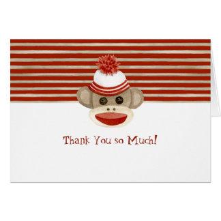 Retro Sock Monkey w Stocking Cap Baby Boy Gifts Card