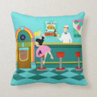 Retro Soda Fountain Throw Pillow