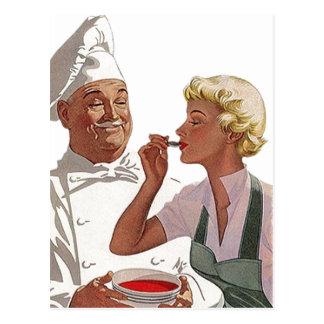 Rétro soupe vintage à essai de cuisinier de cuisin carte postale