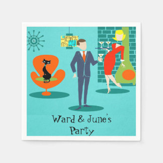 Retro Space Age Cartoon Couple Cocktail Napkins Paper Napkin