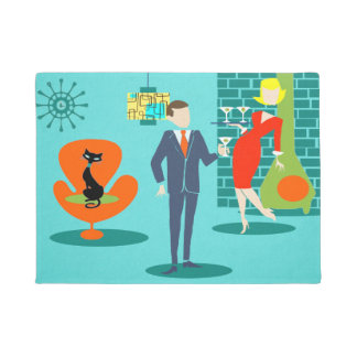 Retro Space Age Cartoon Couple Door Mat