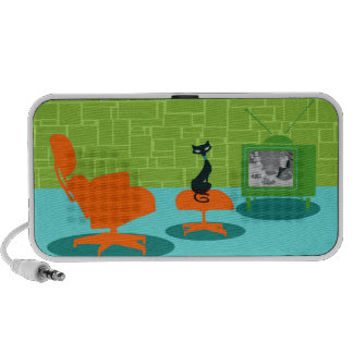 Retro Space Age Kitty Doodle Portable Speaker