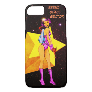 Retro Space Girl Colored iPhone 7 Case
