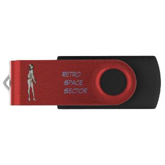 Retro Space Girl Gray scale USB Flash Drive
