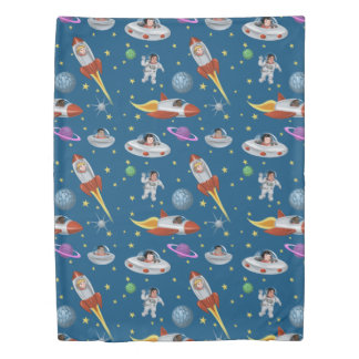 Retro Space Kids Duvet Cover