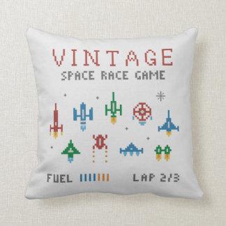 Retro Space Race Throw Pillow