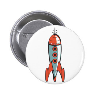 retro space rocket 2 inch round button