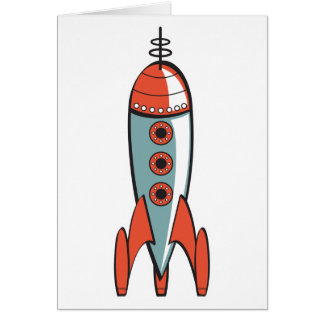 retro space rocket greeting card