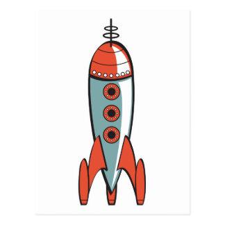 retro space rocket postcard
