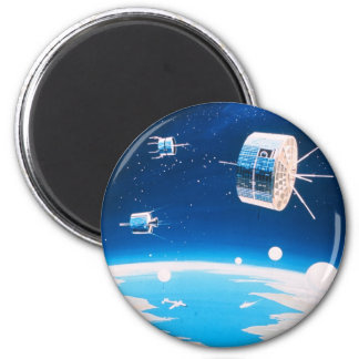 Retro space rocket satellite vintage illustration 2 inch round magnet