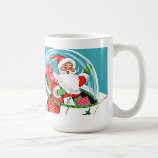 Retro Spaceship Santa Christmas Mug (full wrap)