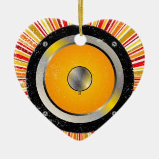 Retro Speaker Background Ceramic Heart Ornament