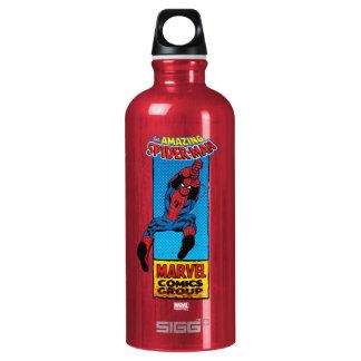 Retro Spider-Man Comic Graphic Water Bottle